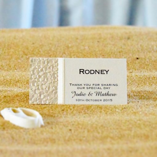 Coastal Chic Wedding Place Card - Champagne