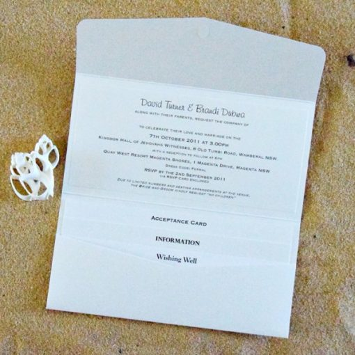 Beach DL Pouch Wedding Invitation by Something Fabulous - Inside