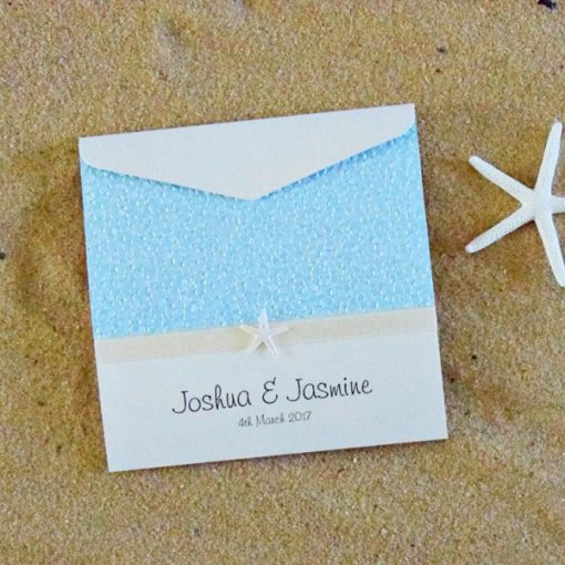 Beach Square Pouch Wedding Invitation by Something Fabulous