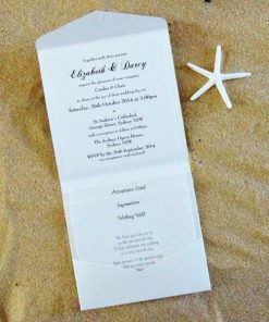 Beach Square Pouch Wedding Invitation by Something Fabulous - Inside
