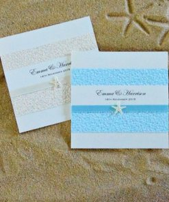 Coastal Chic Square Folding Wedding Invitations