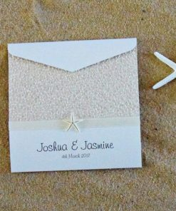 Coastal Chic Square Pouch Wedding Invitation