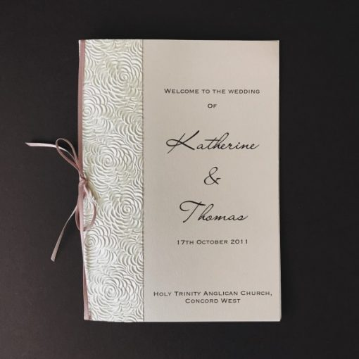 Simply Elegant Order of Service Cover - Lustre & Dusty Pink