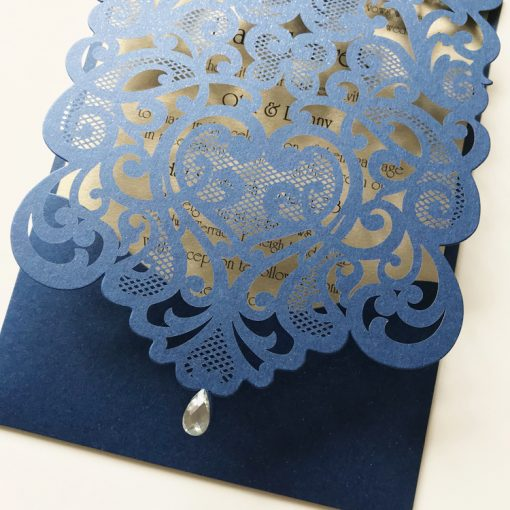 Exquisite Pouch Laser Cut Invitation - Glittering Navy & Gold