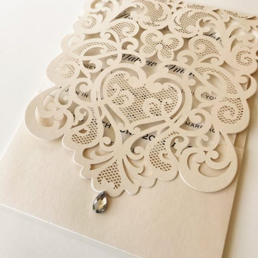 Exquisite Pouch Laser Cut Invitation - Champagne Gold Shimmer
