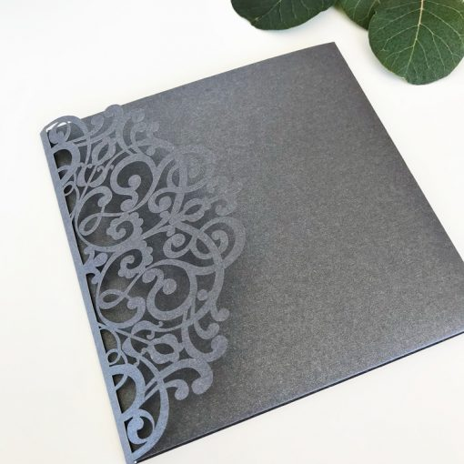 Floral Pouch - Grey Shimmer