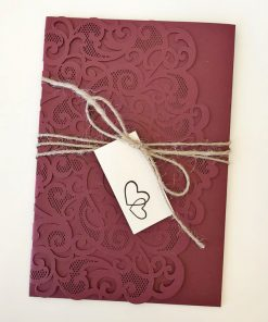 Love Heart Pouch & twine with printed tag - Burgundy Shimmer & Matt Cream