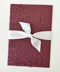 Love Heart Pouch with 25mm satin ribbon - Burgundy Shimmer