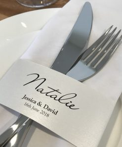 Napkin Wrap Place Card - Crystal White