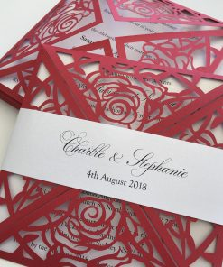 Glamorous Rose Laser Cut - Red & Crystal White
