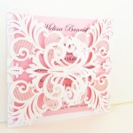 Gorgeous Lace Laser Cut Invitation - White Shimmer & Pink