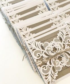 Gorgeous Lace Laser Cut Invitation with twine - White Shimmer & Natural