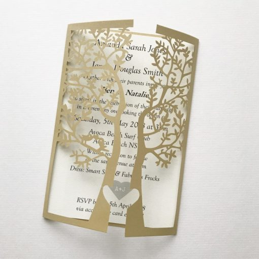Love Tree Laser Cut Invitation - Metallic Gold & Matt Cream