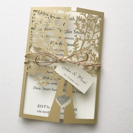 Love Tree Laser Cut Invitation with twine & tag - Metallic Gold & Matt Cream