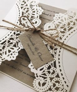 Rustic Laser Cut Wedding Invitation with twine and tag - Ivory Shimmer & Natural