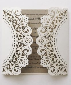 Rustic Laser Cut Wedding Invitation - Ivory Shimmer & Natural