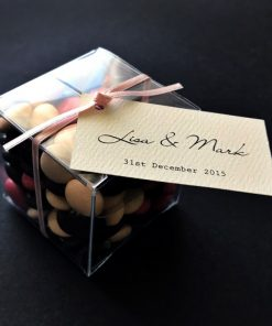 Clear Box with 3mm Satin Ribbon with printed tag - Matt Cream