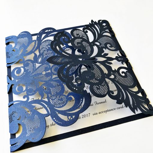 Gorgeous Lace Laser Cut Invitation - Glittering Navy & Pearl Ivory