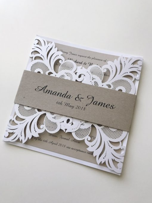 Gorgeous Lace Laser Cut Invitation with Belly Band - White Shimmer & Natural