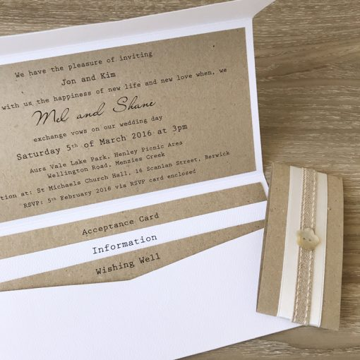 Homespun Love DL Pouch Invitation - White two-tonned
