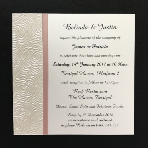 Simply Elegant Square Invitation Ivory and Pink