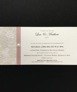 Simply Elegant DL Invitation Ivory and Pink with pearl
