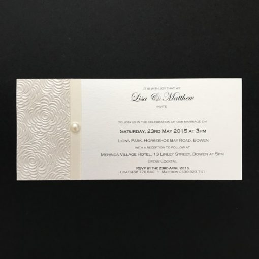 Simply Elegant DL Invitation Ivory on Ivory with pearl