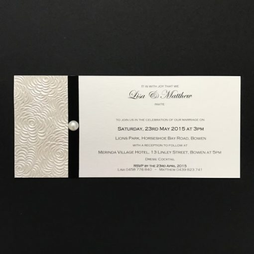 Simply Elegant DL Invitation Ivory and Black with pearl