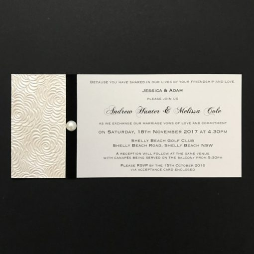 Simply Elegant DL Invitation Lustre and Black with pearl