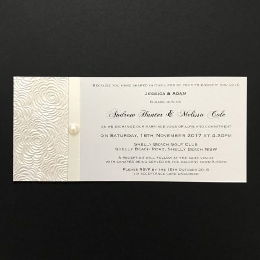 Simply Elegant DL Invitation Lustre and Ivory with pearl