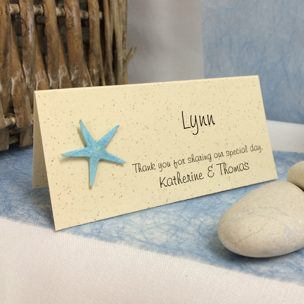 Starfish poem card - Place Card With Starfish Blue
