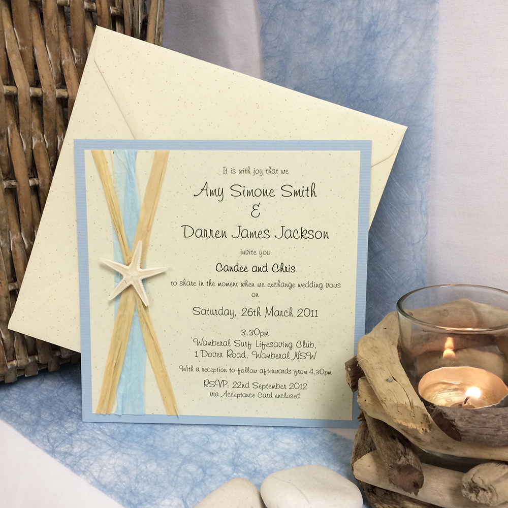 Beach wedding invitations rusticnatural square invite with starfish solutioingenieria Choice Image