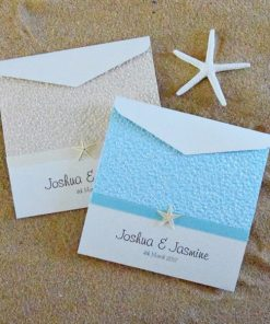 Beach Square Pouch Wedding Invitations by Something Fabulous