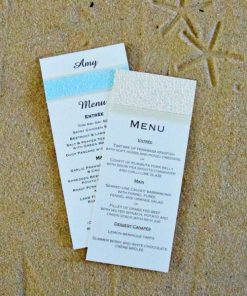Beach DL Wedding Menu Place Cards by Something Fabulous