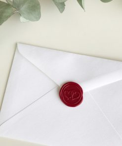 C6 Envelope with wax seal - red double hearts