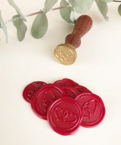 Wax seal stickers - red double hearts