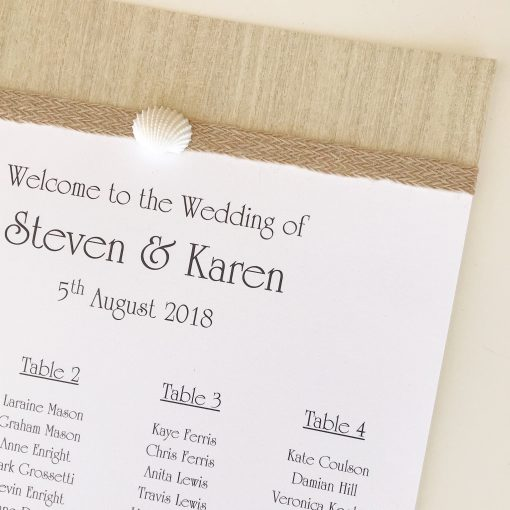 Love Shack A3 Table Seating Plan