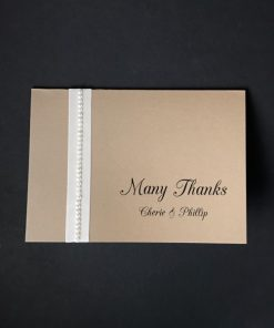 Antique Chic A6 Folding Thank You Card - Mink