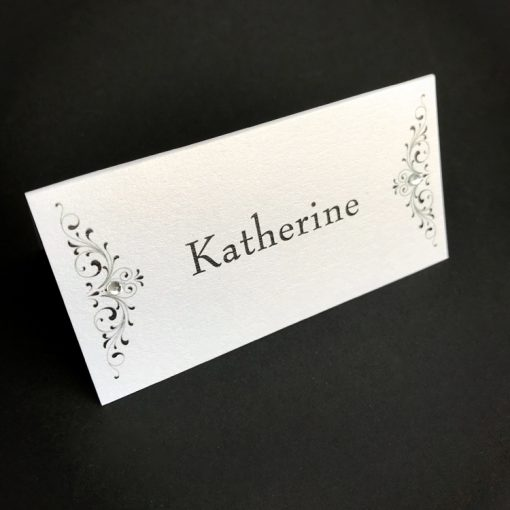 Divine Inspiration Place Card - Black on Crystal White & Diamante