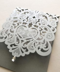 Exquisite Pouch Laser Cut Invitation - Silver Shimmer & Crystal White