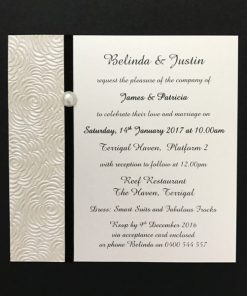 Simply Elegant Square Invitation Ivory and Black with pearl