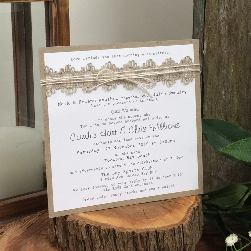 Well-known Beach Wedding Invitations - Rustic/Natural YB06